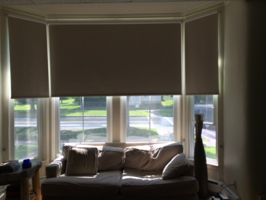 Roller shades on an angled bay window at Middlebury College.