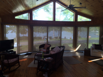 Solar woven shades on Lake George