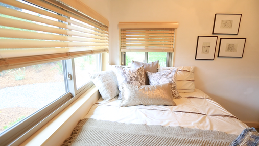 Wood blinds installed in Montpelier for the Tiny House Nation TV series.