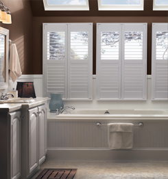wooden blinds in a bathroom