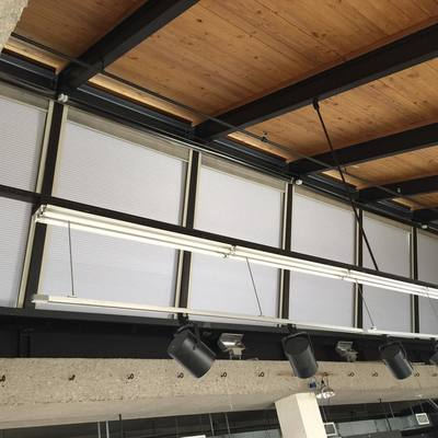 Motorized Honeycomb shades at Middlebury College