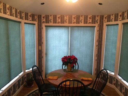 cordless cellular shades in a Rutland home.