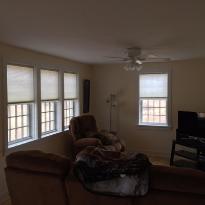 custom window shades in a living room